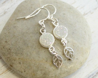 Rainbow Druzy and Leaf Drop Earrings -- 925 Sterling Silver Minimalist Jewelry