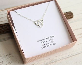Sterling Silver Minimalist Knot Necklace with Friendship Sentiment