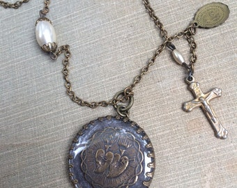 Vintage sacred heart repurposed necklace