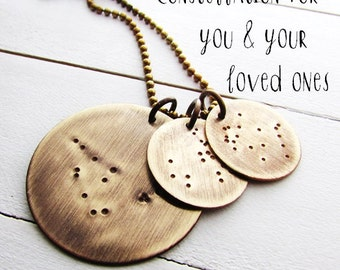 Mother & Child Constellation Necklace | Zodiac Charm Necklace | Multiple Constellation Charms | Rustic Zodiac Necklace | Solid Brass