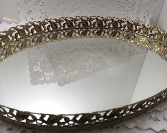 Large oval vanity mirror tray, gold tone, desser, bathroom or vanity