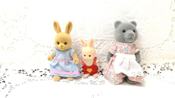 3 Vintage Sylvanian Families Maple Town Calico Critters Bunny