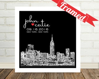 New York Skyline Wedding Gift Personalized NYC Poster Print Any City Available Worldwide Wedding Gifts Personalized Skyline Poster Print