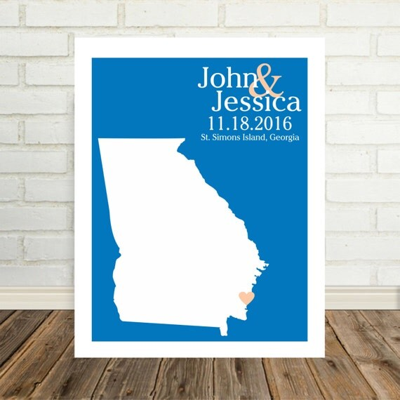 Georgia Map Valentines Day Gift Georgia Poster Georgia Print Wedding Map Personalized Couple Art State Map Art State Map Print Holiday Gift