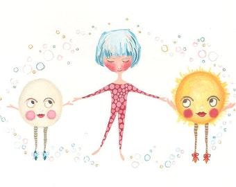 Bubble Dancers print, cute girl illustration, nursery art, moon and sun