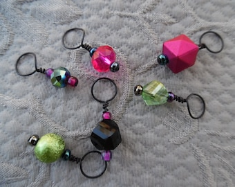 """Knitting Stitch markers, set of 6, """"Strawberry Limeade"""",  up to 8 mm needles"""