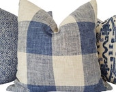 Navy Pillow - Plaid Pillow - Navy Decorative Pillow - Buffalo Check Pillow - Blue Pillow Cover - Navy Toss Pillow - Navy Lumbar Pillow