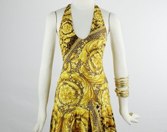 Sale Designer GIANNI VERSACE ICONIC Scroll and Leopard Print Halter Dress Size 40