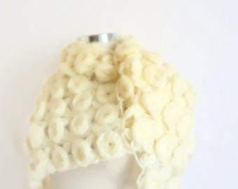 Handmade Crochet Ivory Flowered Shawl-Free Shipping