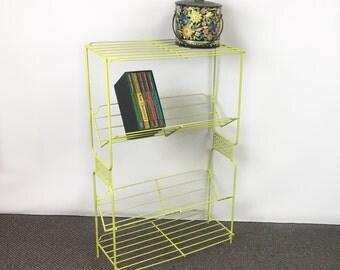 Chartreuse wire shelf mid century shelf wire bookshelf