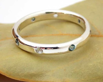 Multistone Band with 8 Stones: silver ring, sterling silver ring, dainty ring, mother's ring, birthstone ring, stacking ring, flush set