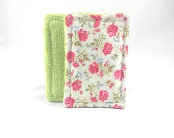 100% Cotton Washable Sponge Set of 2 -Shabby Chic Flowers
