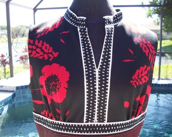1970s Long Black, White and Red Flowered Maxi Dress