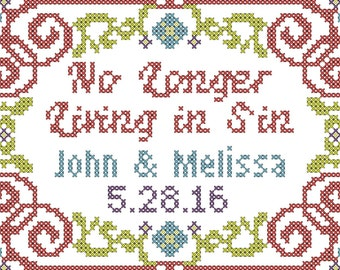 "Wedding Cross Stitch Pattern Modern No Longer Living in Sin for 4"" x 6"""