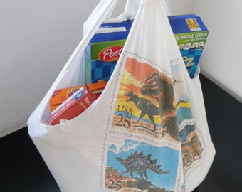 Reusable Grocery Bag Compact Fold Up Shopping Produce Tote ECO Friendly Vintage Stamps Dinosaurs T-Shirt Bag w/ Pocket