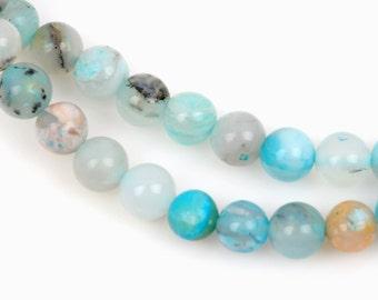 5mm BLUE PERUVIAN OPAL Gemstone Beads Round, full strand, gop0012