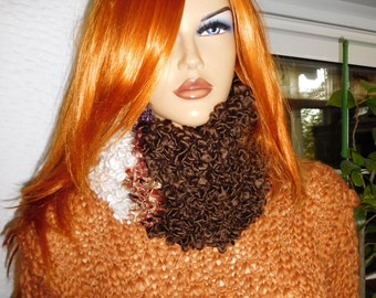neckwarmer cowl in off white brown bronze handmade knitted boucle neckwarmer ready to ship OOAK gift idea for her by goldenyarn