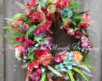 Spring Wreath, Summer Wreath, Floral Wreath, Designer Floral Wreath, Victorian Garden Wreath, Country French Wreath, Elegant Floral Wreath
