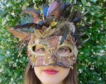 One of a Kind - Bronze Peacock Masquerade Collectible Mask