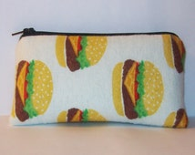 """Padded Pipe Pouch, Cheeseburger Bag, Pipe Case, Pipe Bag, Padded Pouch, Stoner Gift, Munchies Bag, Hamburger Bag, Small Pouch - 5.5"""" SMALL"""