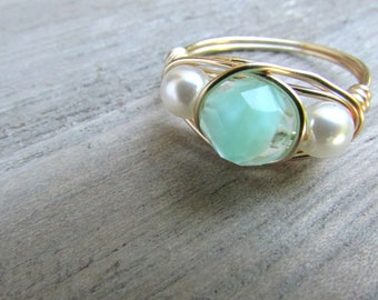 gold ring wire wrapped aqua green glass faceted bead white pearl ring size 7 1/2 US multistone ring hand crafted jewelry