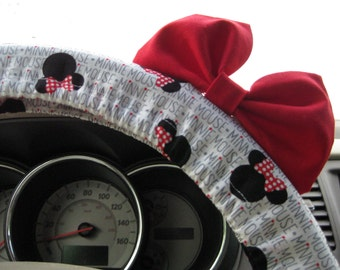 Steering Wheel Cover Bow, Minnie Mouse Inspired Dove Grey Words Dot Steering Wheel Cover with Red Bow, Disney Minnie Wheel Cover Bow BF11282