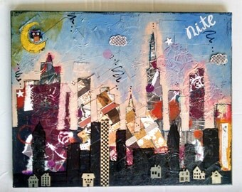 Mixed Media City Skyline Art, Wall Art Décor, Collage Art, City Art Gifts, Mixed Media, Abstract Art, Geometric Art, Blue Art, Cityscape Art