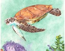 Sea Turtle print ST1316, sea turtle watercolour painting, Contemporary Coastal wall art, green wall art, A4 size print underwater scene