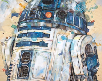 "R2-D2 12"" x 12"" Digital Art Print Of Original Ink and Acrylic Painting"
