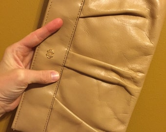 Tan leather clutch khaki leather bag clutch designer clutch vintage Letisse bag 80s leather purse,vintage tan purse old clutch 1980s clutch