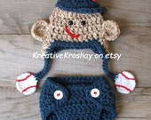 Sock Monkey Hat & Diaper Cover with Baseball Theme (Newborn or 3-6 month size)