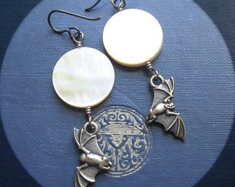 Bat and Moon Earrings. Hypoallergenic Full Moon Earrings