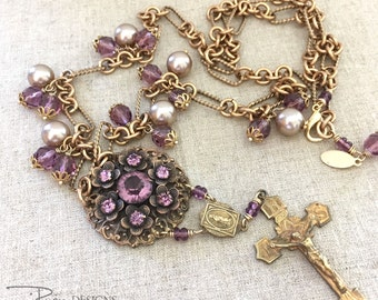 Vintage Assemblage Rhinestone Necklace - Purple Rhinestone Religious Necklace - Christian Faith Cross Necklace - Long Necklace