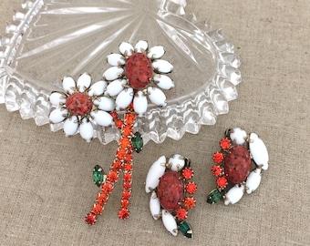 WEISS Rhinestone Jewelry Set, WEISS Brooch Earrings Set, Clip On Earrings, Demi Parure, White Rhinestone Orange Flower Jewelry Set