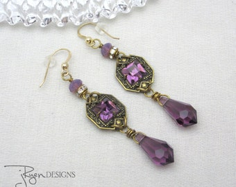 Repurposed Rhinestone Earrings - Purple Rhinestone Dangle Earrings - Vintage Unique Jewelry
