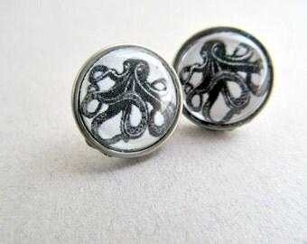 Black Octopus Stud or Dangle  Earrings