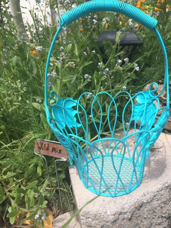 Aqua blue shabby chic indoor basket, outdoor basket