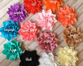 "Fabric Flowers Soft Poinsettia Flowers 3"" -7cm Kanzashi DIY Baby Headband Supplies Wholesale flowers embellishment applique Lotus- YOU PICK"
