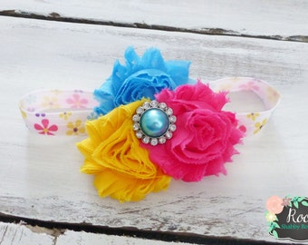 Yellow, Turquoise, Hot Pink Triple Shabby Rosette Infant Toddler Girls Headband - Shabby Chic Headband - Flower Headband - Girls Headband