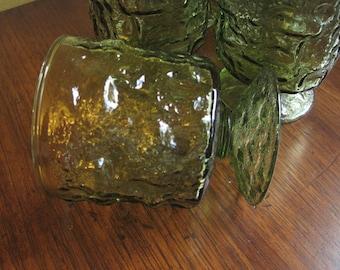 9 Green Pedestal Glasses, Driftwood, Morgantown, Crinkle Glass Tumbler