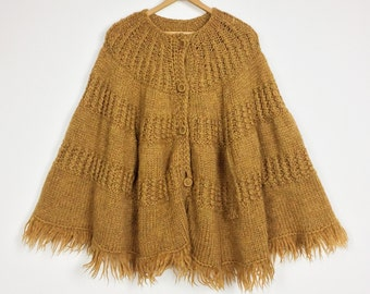 Poncho Cape Bulky Chunky Knit Fringe Fringed 1970's Vintage Women's One Size Boho Bohemian Festival Cape Mustard Yellow Brown Button Front