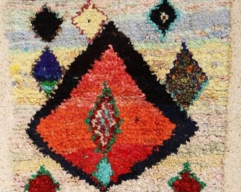 "boucherouite FREE SHIPPING worlwide T25554  170 X 170 CM (5'6"" X 5'6""), boucharouette,  moroccan rugs , berber rugs, morocco carpets"