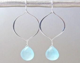 Silver Arabesque Aqua Chalcedony Earrings - Silver Hoop Earrings - Dangle Earrings