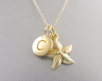 Gold Initial & Starfish Charm Necklace - Starfish Necklace - Starfish Jewelry