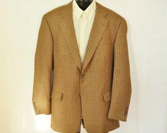 Mens Tommy Hilfiger Blazer Plaid Jacket Size 44L Long Big Tall Man Tan & Black Turquoise Mid Century Menswear Fashion