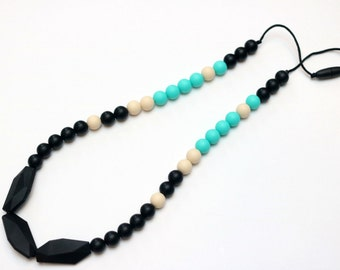 On Trend Turquoise Accent Silicone Teething Necklace| Silicone Nursing Necklace| Breastfeeding Necklace| Teething Necklace| Chewelry for Mom