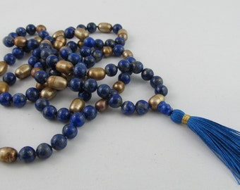 Readyto ship Royal blue and gold mala - Lapis lazuli and gold pearls 108 beads knotted mala - 8mm mala - blue and gold tassel necklace