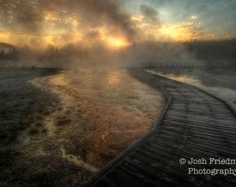 Yellowstone National Park Sunrise Biscuit Basin Fine Art Photograph Morning Light Upper Geyser Basin Landscape Photography Boardwalk Steam