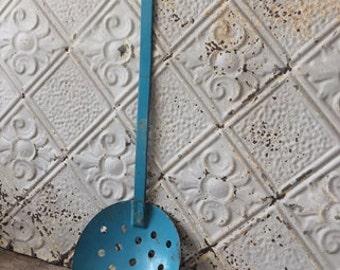 Vintage Metal Ice Fishing Skimmer Blue