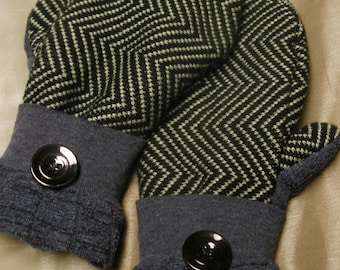 Black, White and Gray UpCycled, ReCycled, Vintage Wool Sweaters & Polar Fleece Lined Mittens